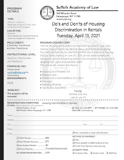 Upcoming CLE: Do's and Don'ts of Housing Discrimination in Rentals (Registration Info for Attorneys)