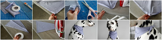 Step-by-step instructions for making a no-sew reversible dog bandana