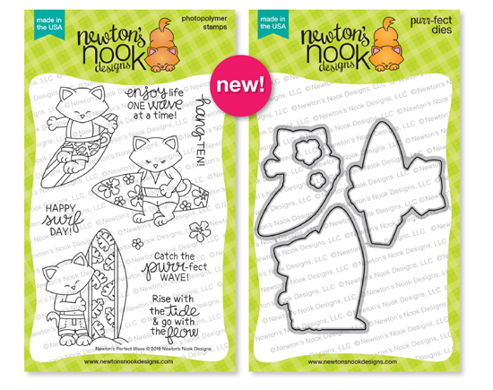 Newton's Perfect Wave | Surfing Cat Stamp Set by Newton's Nook Designs #newtonsnook