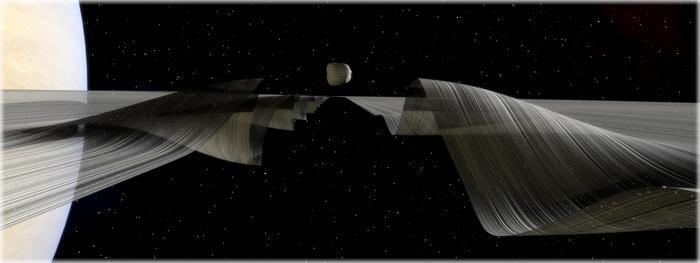 ondulações nos anéis de Saturno