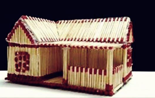 Kerajinan miniatur rumah dari korek api