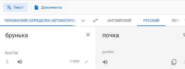 Перевод слова брунька