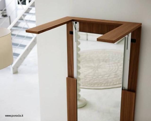 Espejo de interiores mueble funcional transformable