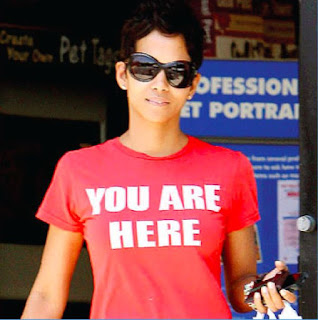 """YOU ARE HERE"" T-shirt as worn by Halle Berry. PYGear.com"