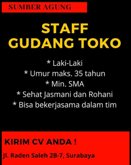 Info Lowongan Kerja di Sumber Agung Surabaya Juni 2021 ...