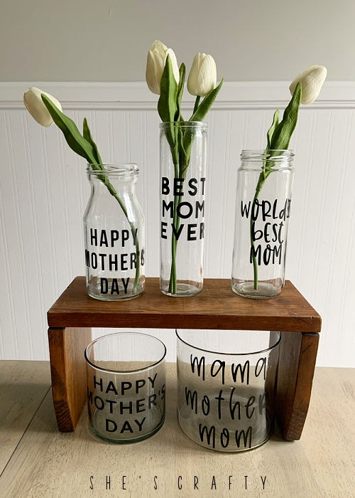 Mother's Day Glass Flower Vase with real touch tulips.