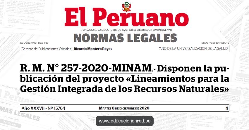 R. M. N° 257-2020-MINAM.- Disponen la publicación del proyecto «Lineamientos para la Gestión Integrada de los Recursos Naturales»
