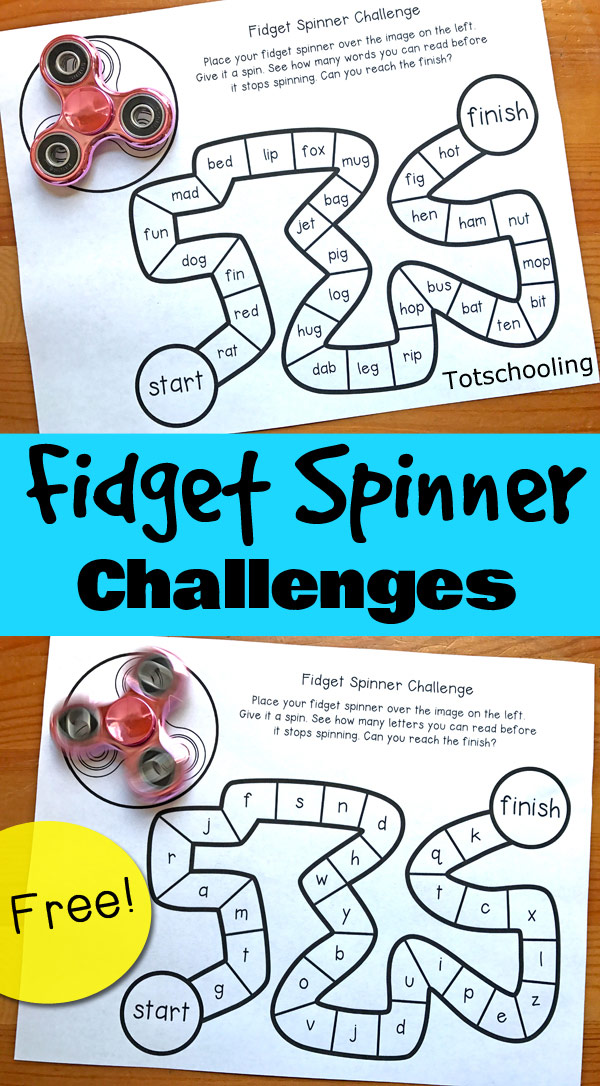 FREE Fidget Spinner challenge games for kids to review sight words,cvc words, alphabet, letters and numbers. Great for preschool or kindergarten summer review!