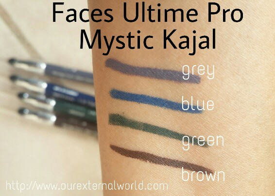 Swatches of all shades of Mystic Kajal