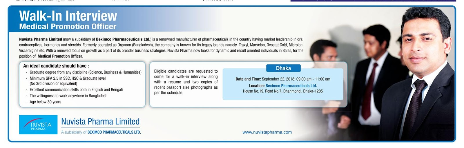 Nuvista Pharma Ltd. Medical Promotion Officer Job Circular 2018