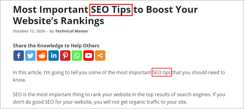 Use exact keywords in your pages SEO tips