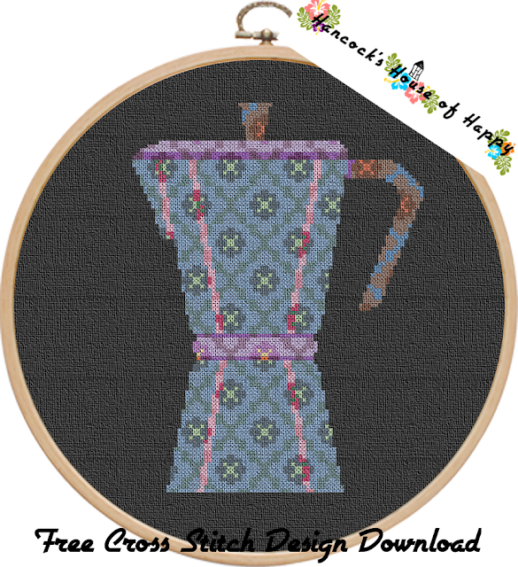 Geometric Pattern Silhouette Cross Stitch Pattern for an Italian Style Coffee Pot Free to Download