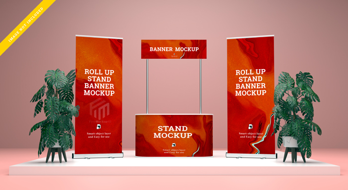 Roll Up Banner Stand Banner Mockup Template