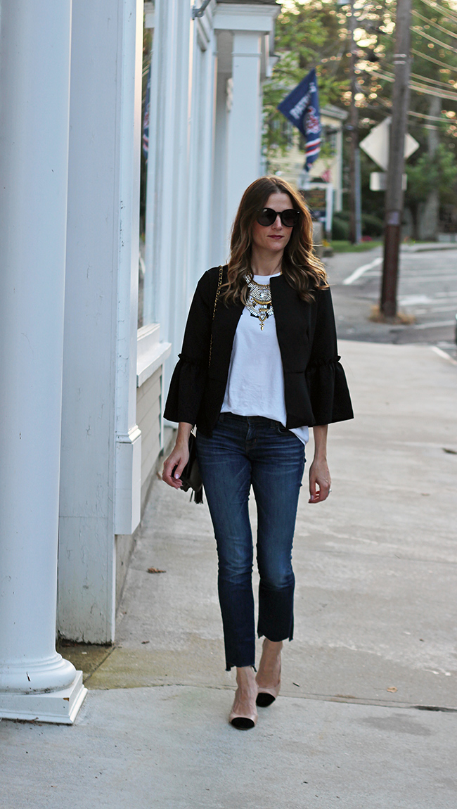 Black bell sleeve blazer
