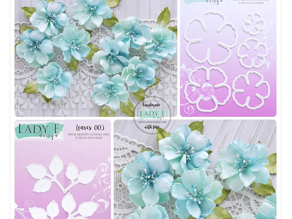 2 Layered Blue & Mint Foamiran Flowers