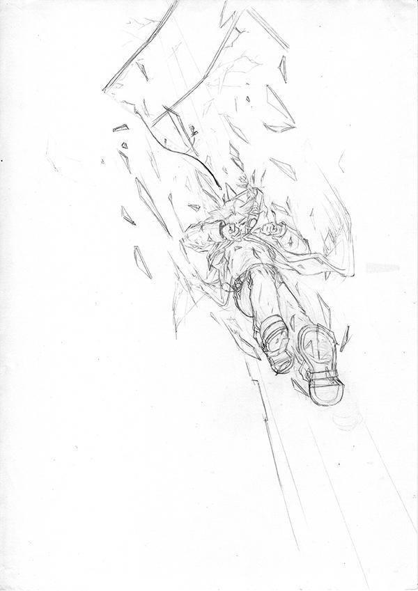 crayonné - Edward sautant à travers une verrière