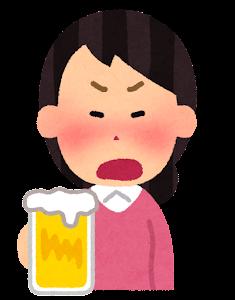 酔っぱらいのイラスト(女性・怒った顔)