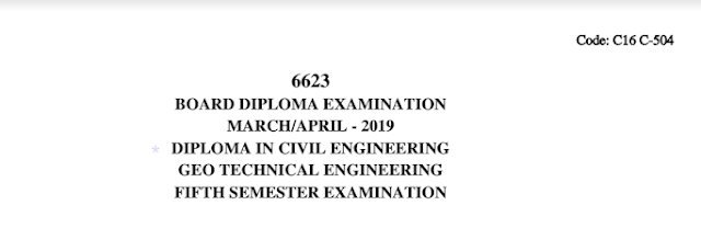 Sbtet Geo Technical Engineering Previous Question Paper c16 March/April 2019