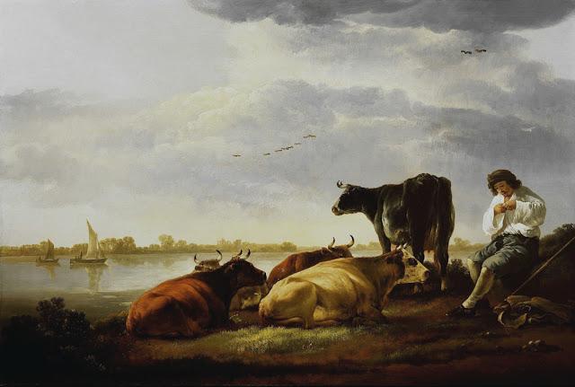 Альберт Кёйп - Пастух с коровами на берегу реки. 1650