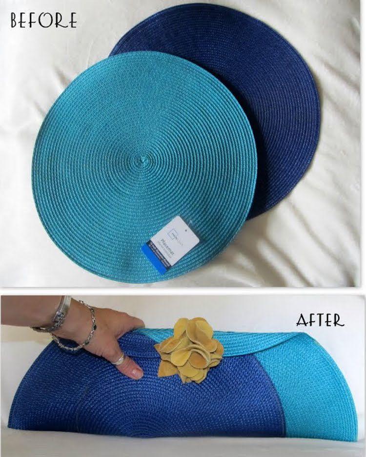 bolso bicolor hecho con un mantel individual