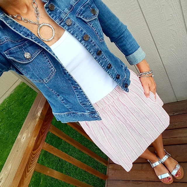Kut from the Kloth Denim Jacket // Banana Republic Factory Tank (similar) // Gap Striped Linen Skirt - on major sale // J. Crew Factory Sandals (already sold out - similar) // ILY Couture Bracelet