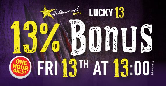 Spooky font reading lucky 13 13% deposit bonus one hour only friday 13 september