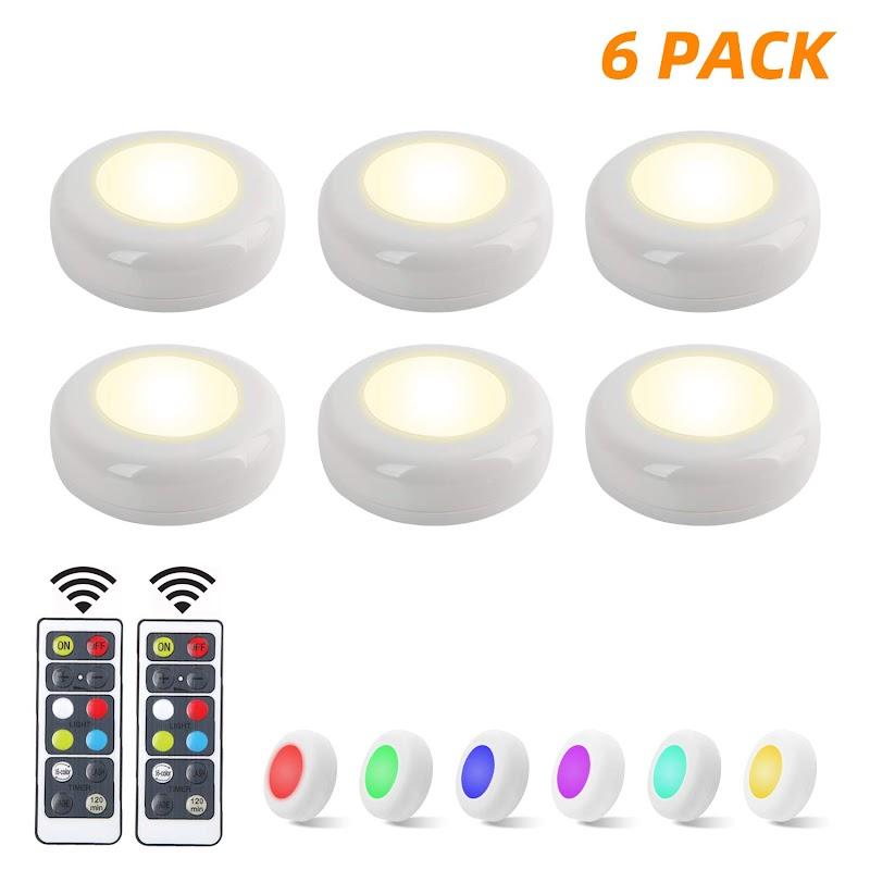 AMAZON - 50% off  6 Pack RGB Under Cabinet Lighting LED Closet Lights