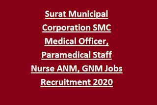 Surat Municipal Corporation SMC Medical Officer, Paramedical Staff Nurse ANM, GNM Jobs Recruitment 2020 Application Form