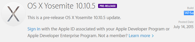Mac OS X Yosemite 10.10.5 Beta 1 (Build-14F6a)