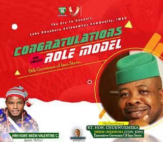Eze-in-Council IMSU Congratulates Rt. Hon. Emeka Ihedioha