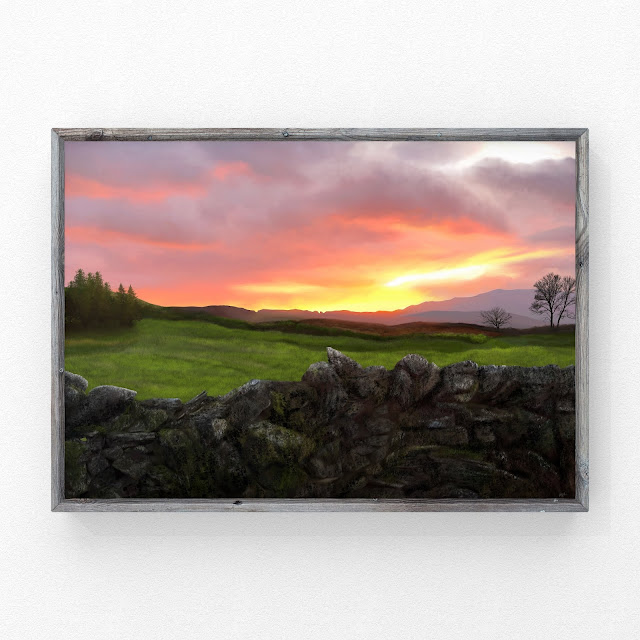 Glow Over A Dry Stone Wall, art by Mark Taylor, landscape artist, Fine art America, pixels,