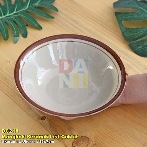 Mangkok Keramik List Coklat