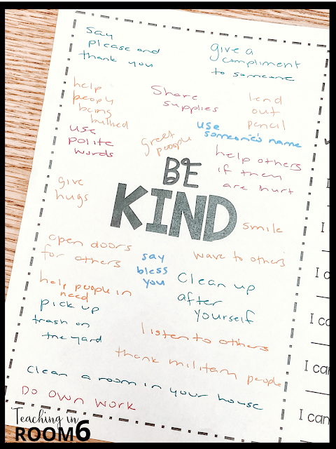 """Creating a """"Be Kind"""" anchor chart in 3rd grade"""