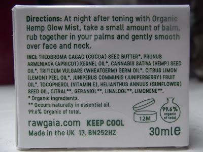 Rawgaia Organický Nočný Balzám s Konopím zloženie