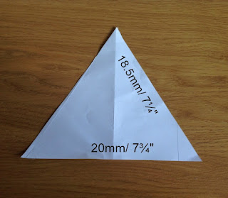 Paper template of triangle with dimension