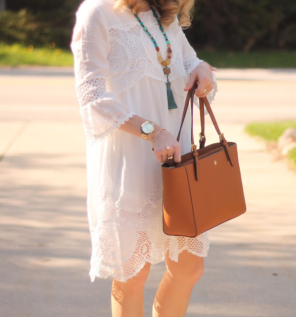 White boho summer dress, mules, Tory Burch tote, tassel necklace, summer essentials, tote bag,