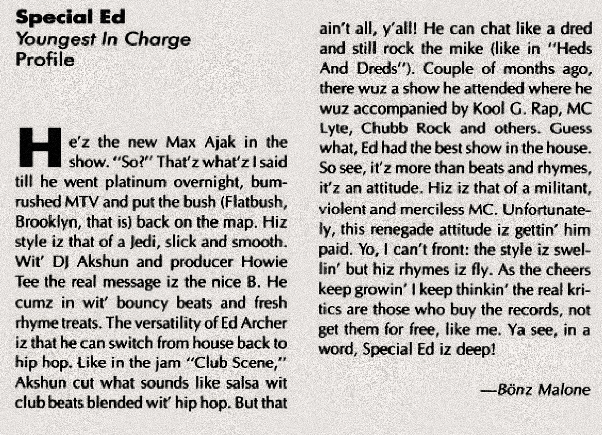 Special Ed Youngest In Charge Album Review Spin Magazine May 1989