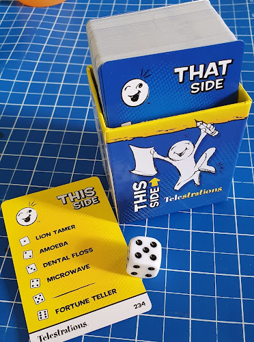 Telestrations game set up word cards