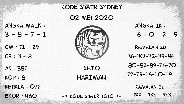 Prediksi Togel Sydney 02 Mei 2020 - Kode Syair Sydney