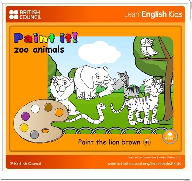 PAINT IT! ZOO ANIMALS (Juego de Inglés de Educación Infantil)