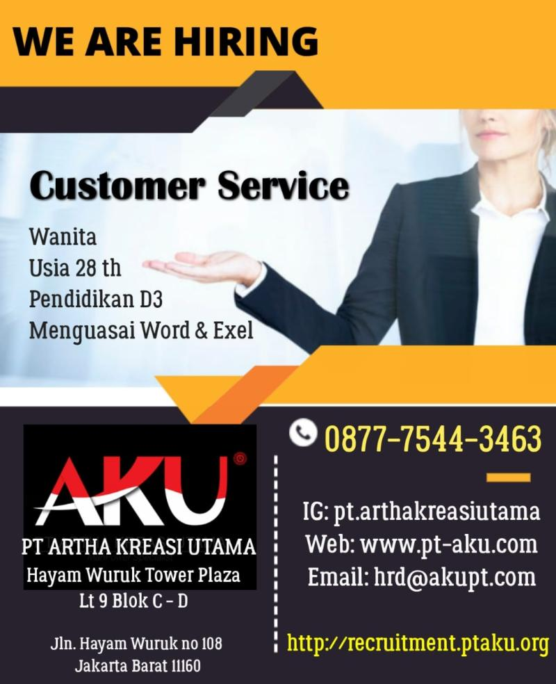 Loker Pt Artha Kreasi Utama Posisi Costumer Service Untuk Area Jakarta Random Email Loker