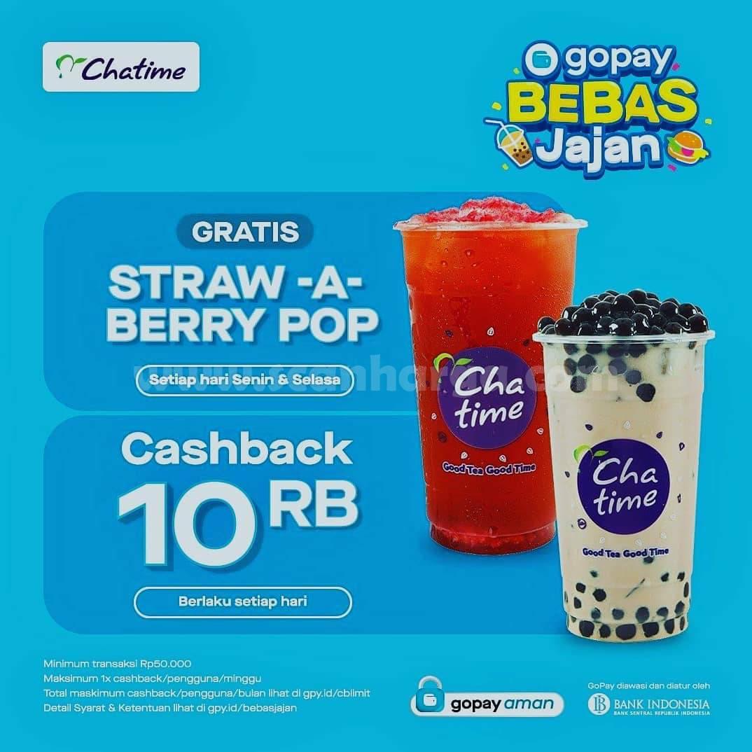 Promo Chatime Gratis Strawberry Pop + Cashback Rp. 10.000 pakai GOPAY