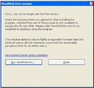 wordweb license error - you can no longer use the free version