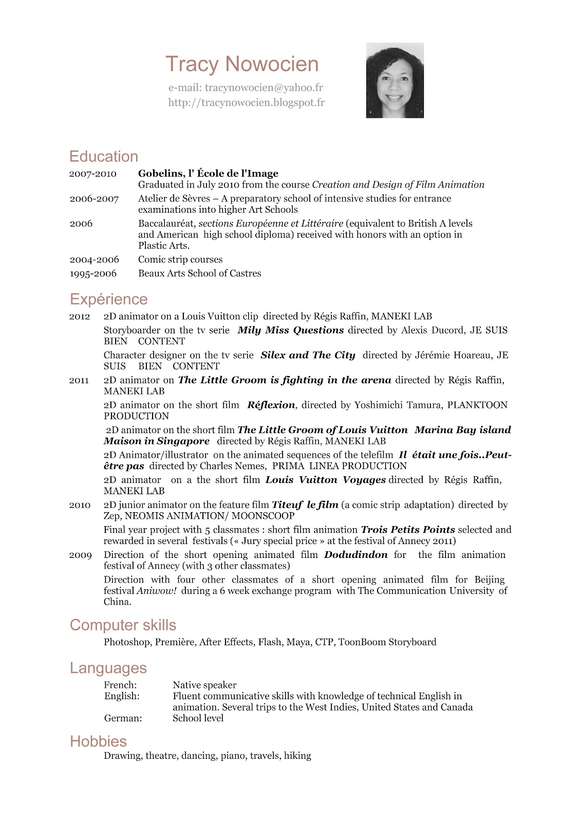 curriculum vitae english waiter