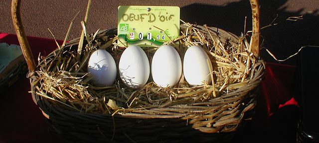 Goose eggs for sale at a village market, Indre et Loire, France. Photo by Loire Valley Time Travel.