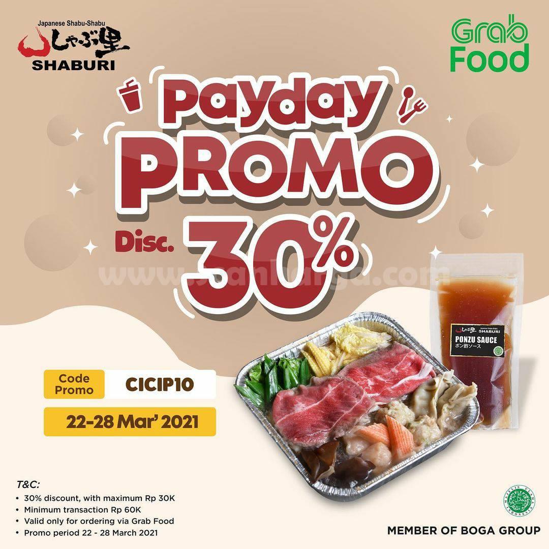 SHABURI Promo PAYDAY – DISKON sd 30% via aplikasi GRABFOOD