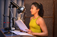 Actress Catherine Tresa Pos during Self Dubbing for Gautham Nanda Movie  0044.JPG