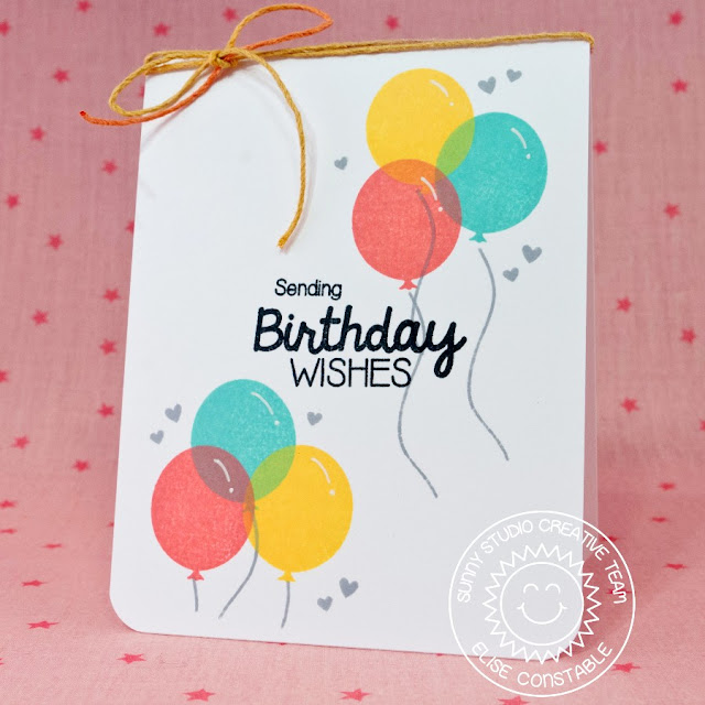 Sunny Studio Stamps Birthday Smiles Balloon Card by Elise Constable.