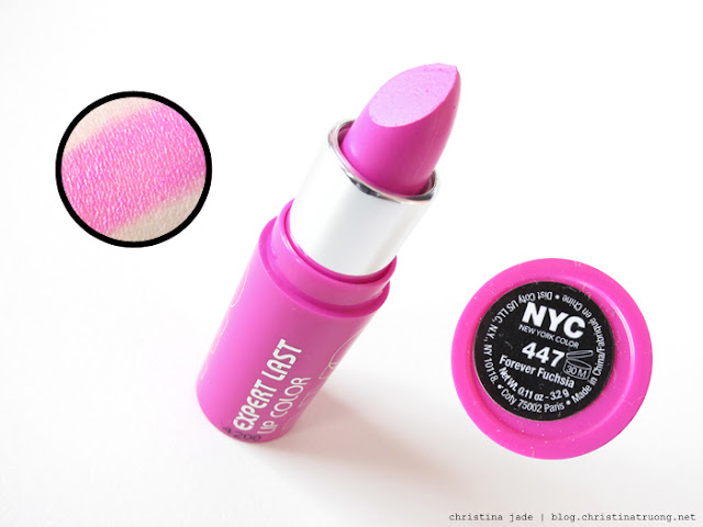 New York Color Expert Last Lipstick Swatches 447 Forever Fuchsia
