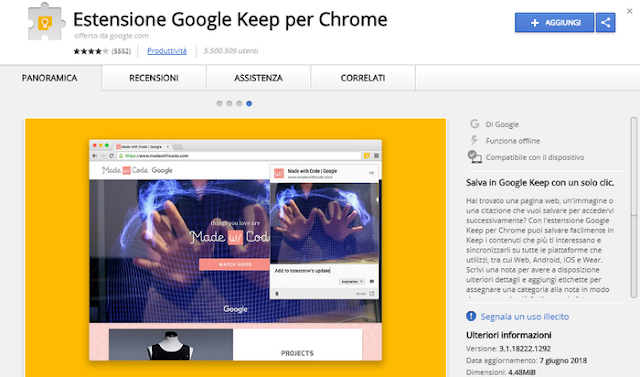 estensione Google Keep per Chrome